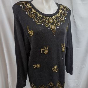 Fitting Image Vintage Beaded Knit Sweater Sz 18/20